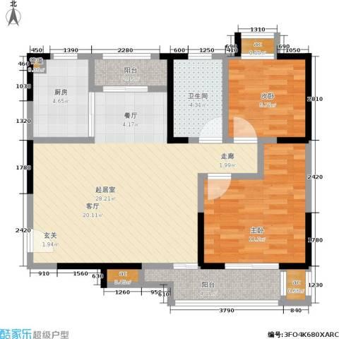 朗钜天域2室0厅1卫1厨92.00㎡户型图