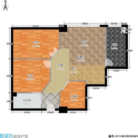 荣民国际公寓3室1厅1卫1厨110.00㎡户型图