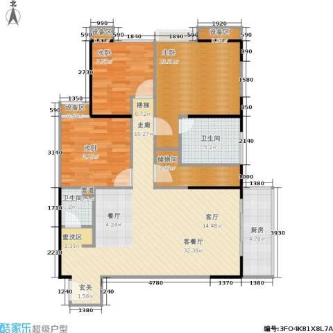 禹洲大学城3室1厅2卫1厨110.00㎡户型图