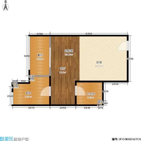 西荷丰润国际公寓1厅1卫1厨58.00㎡户型图