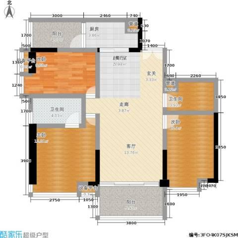 越秀上品轩3室0厅2卫1厨104.00㎡户型图
