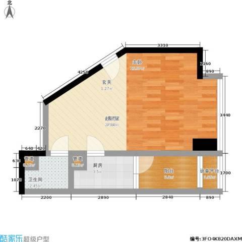 新一代国际公寓1卫1厨47.00㎡户型图