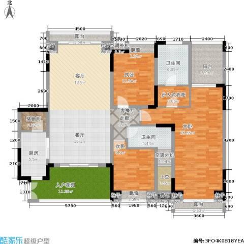 曲江南苑3室1厅2卫1厨194.00㎡户型图
