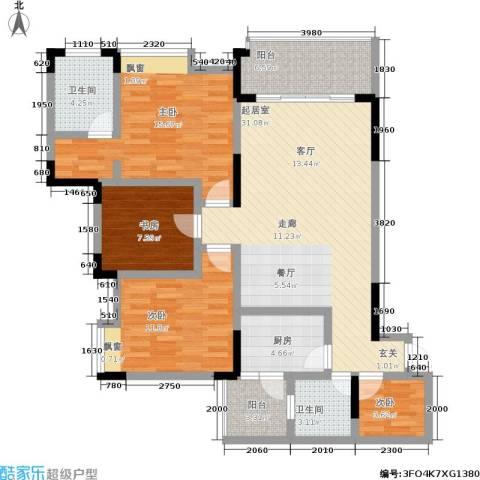 蔚蓝时光4室0厅2卫1厨107.00㎡户型图