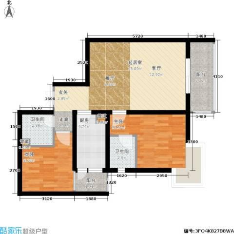 中登家园2室0厅2卫1厨97.00㎡户型图