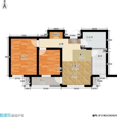 海泰海港花园2室1厅1卫1厨84.00㎡户型图