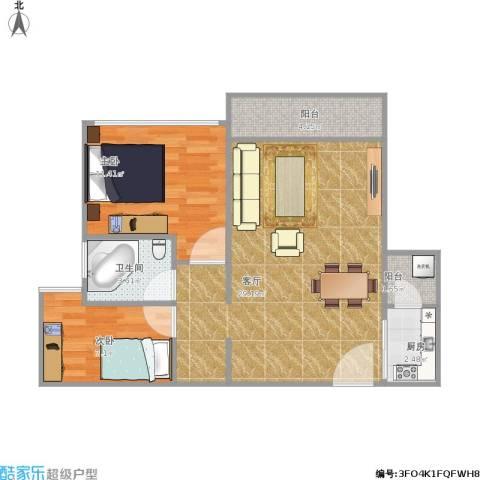 中颐海伦堡2室1厅1卫1厨81.00㎡户型图