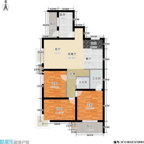 中环国际城3室1厅2卫1厨107.00㎡户型图