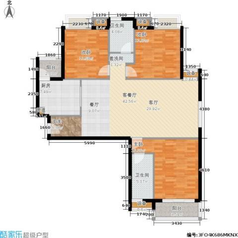 城南翡翠3室1厅2卫1厨120.00㎡户型图