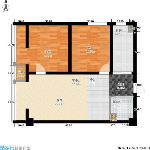 中环国际城2室1厅1卫1厨89.00㎡户型图