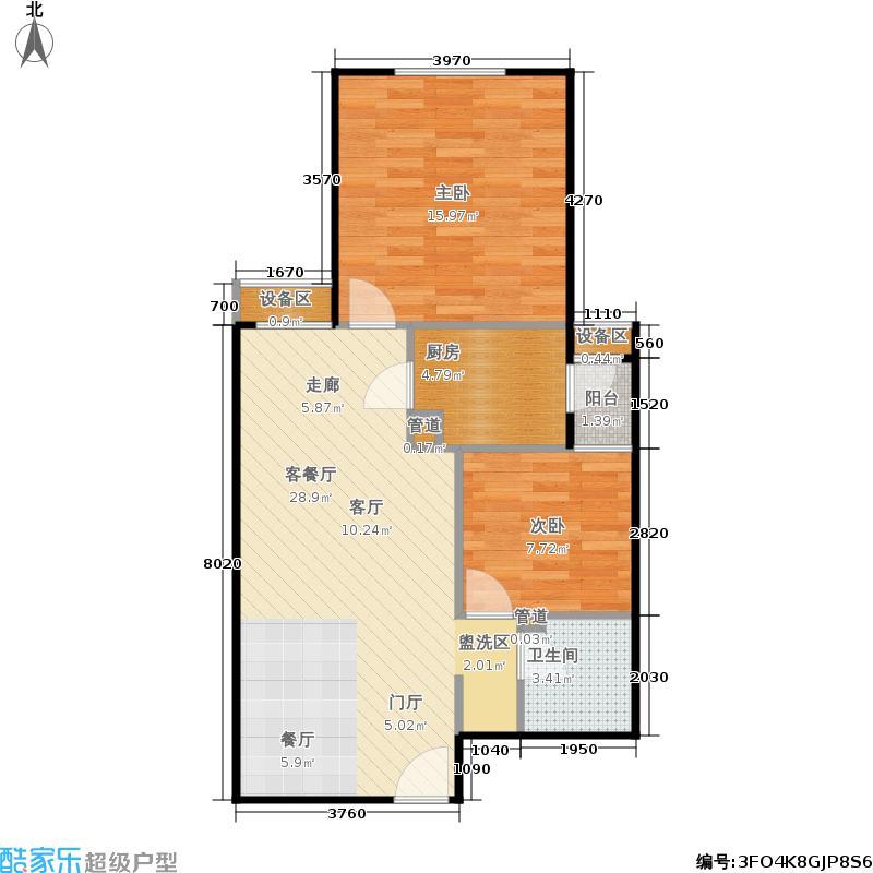 晓月新城86.81㎡2号楼D户型二室二厅一卫户型