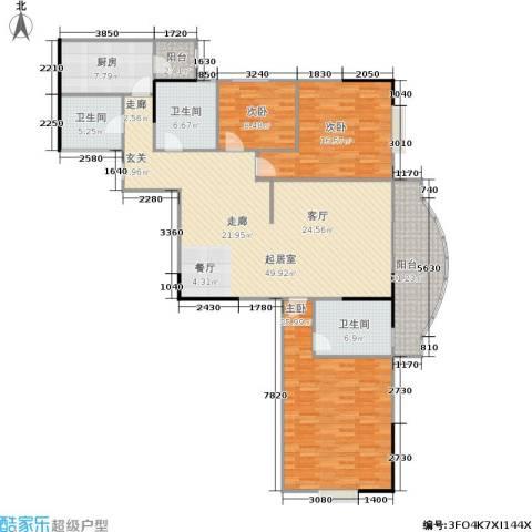 港城花园3室0厅3卫1厨152.00㎡户型图