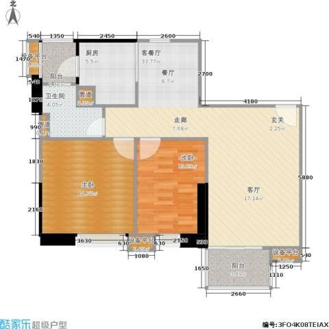 世纪云顶雅苑2室1厅1卫1厨91.00㎡户型图