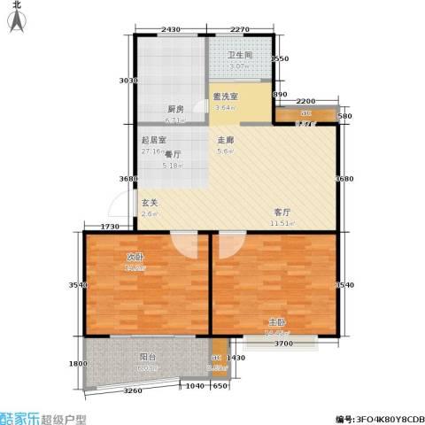 万汇秀林水苑2室0厅1卫1厨78.00㎡户型图