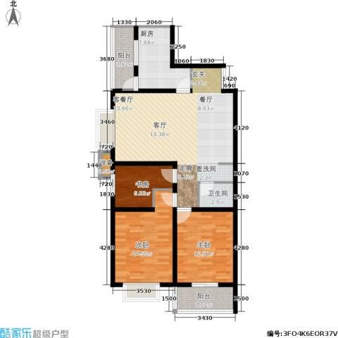 中环国际城3室1厅1卫1厨124.00㎡户型图