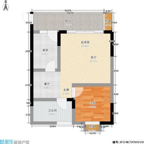 蔚蓝时光1室0厅1卫1厨47.08㎡户型图