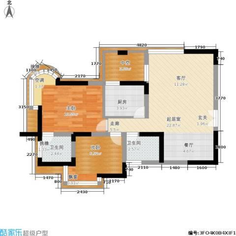 天工太阳岛2室0厅2卫1厨68.00㎡户型图