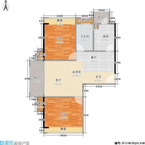 广州奥林匹克花园2室0厅1卫1厨98.00㎡户型图
