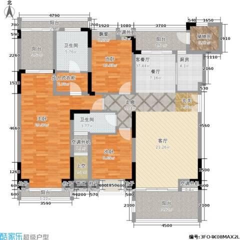 曲江南苑3室1厅2卫1厨189.00㎡户型图