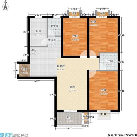 中环国际城3室1厅2卫1厨104.00㎡户型图