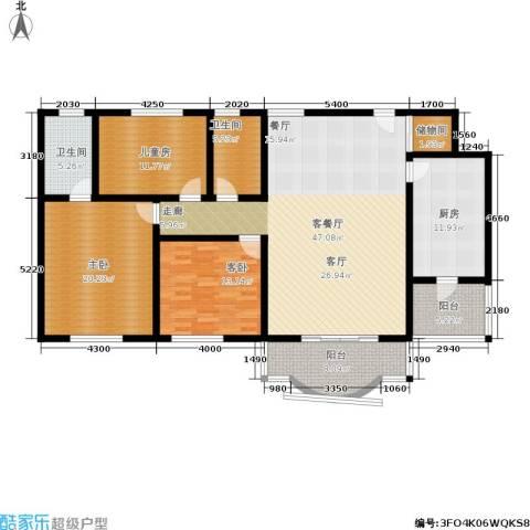 祈福水城3室1厅2卫1厨184.00㎡户型图