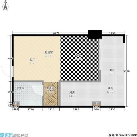 西荷丰润国际公寓1厅1卫0厨57.00㎡户型图