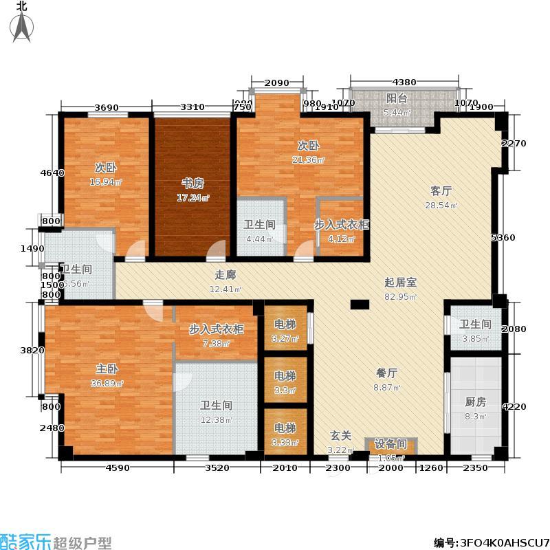 锦绣唐朝289.08㎡5#E2电梯入户主卧飘窗独立书房户型