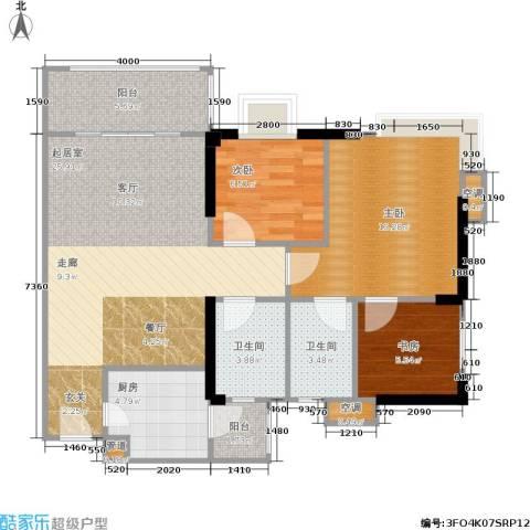 滨江瑞城3室0厅2卫1厨100.00㎡户型图