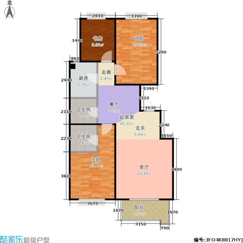 天伦锦城124.65㎡二期10号楼2单元1-16层02户型