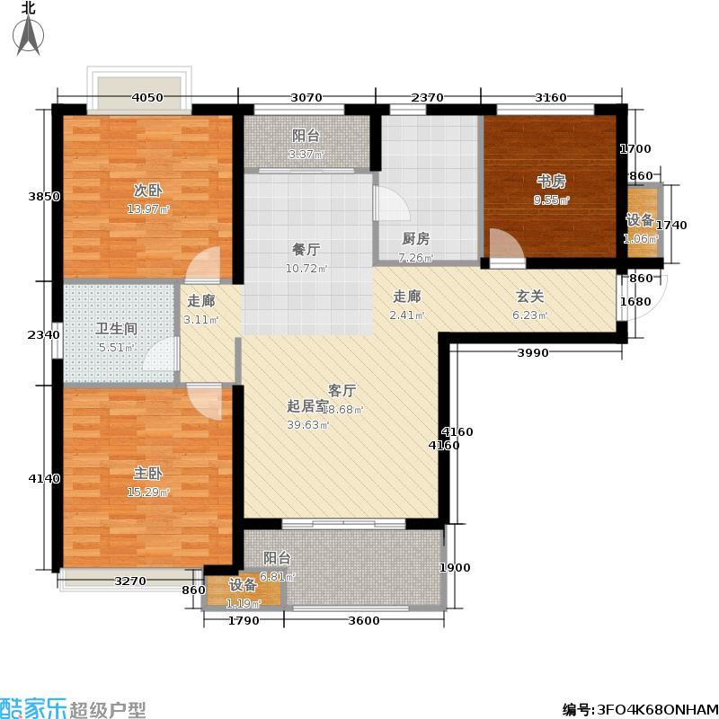 绿地泉景园116.00㎡三室两厅一卫户型3室2厅1卫