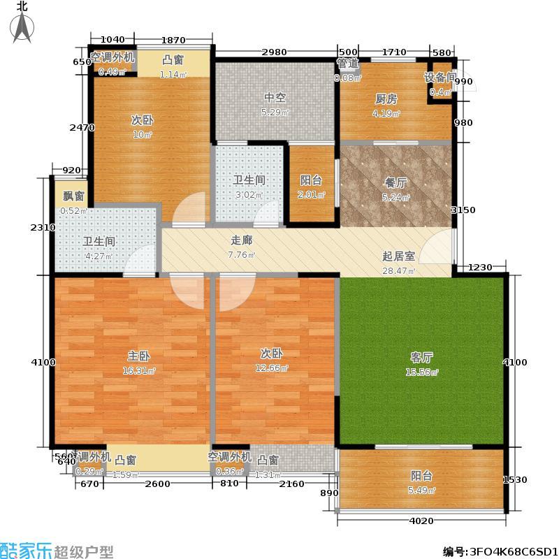 鸿基新城6B-1户型3室2卫1厨