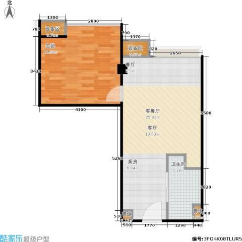 东城国际公寓1室1厅1卫0厨63.00㎡户型图