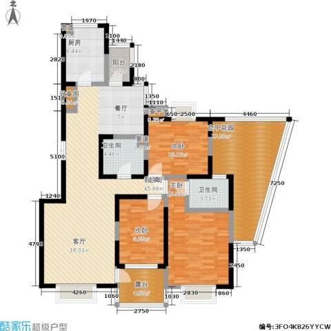 曲江兰亭3室1厅2卫1厨135.28㎡户型图