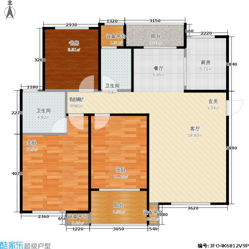 重汽翡翠清河121.27㎡西区13号楼 三室两厅两卫户型3室2厅2卫