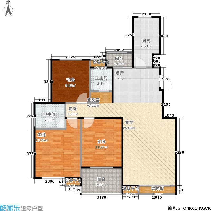 重汽翡翠清河117.00㎡东区4号楼 三室两厅两卫户型3室2厅2卫