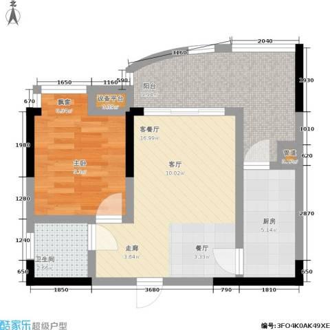 新城丽园1室1厅1卫1厨66.00㎡户型图