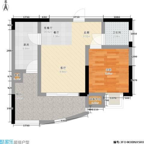 新城丽园1室1厅1卫1厨64.00㎡户型图