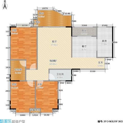 云湖花园3室1厅2卫1厨113.19㎡户型图