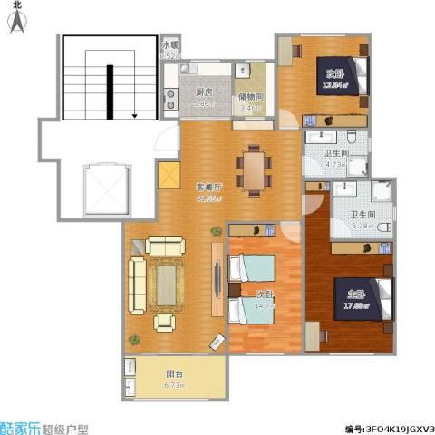 金鼎公寓3室1厅2卫1厨152.00㎡户型图