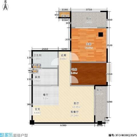 东城国际公寓2室1厅1卫1厨90.00㎡户型图