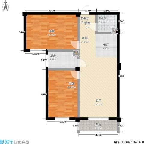 太子花苑2室1厅1卫1厨88.00㎡户型图