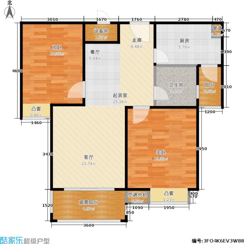 鸿基新城85.00㎡鸿基新城户型图两房两厅一厨一卫厨房紧邻入户门两间卧室与客厅均超南(3/6张)户型10室