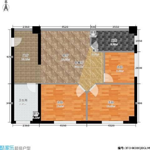 荣民国际公寓3室1厅1卫1厨89.00㎡户型图