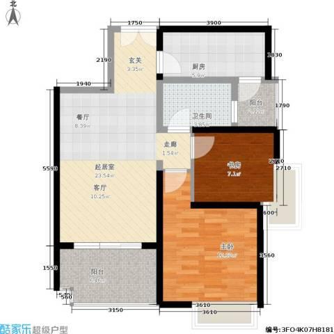 紫薇希望城2室0厅1卫1厨78.00㎡户型图