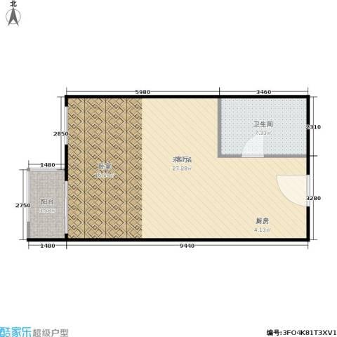 假日国际公寓1卫0厨57.00㎡户型图