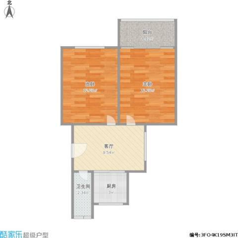 兆园2室1厅1卫1厨59.00㎡户型图