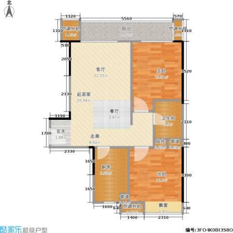广州奥林匹克花园2室0厅1卫1厨82.00㎡户型图