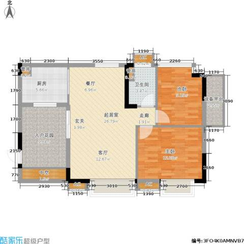 华南碧桂园2室0厅1卫1厨84.00㎡户型图