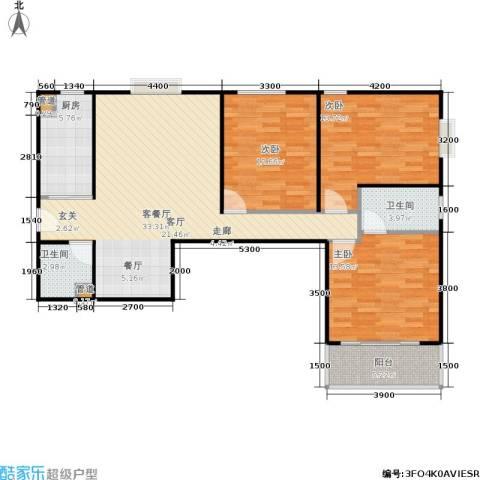 山大新苑3室1厅2卫1厨124.00㎡户型图