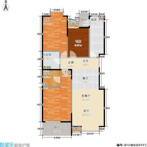京鲁山庄3室1厅2卫1厨128.00㎡户型图